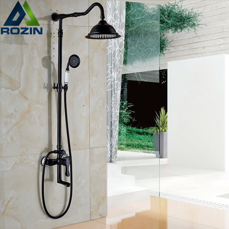 Wall Mounted Rainfall Bath Shower Faucet Single Handle Swivel Tub Taps Bathroom Shower Mixers with Handshower