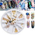 1Pc Nail Jewerly Box Gold Alloy Mermaid Turtle Shell Conch Hippocampus Nail Rhinestones for 3D Nail Art Decorations