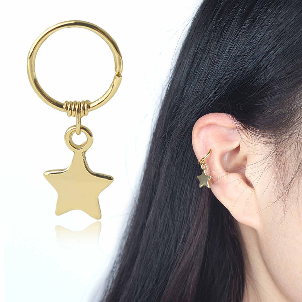 Stainless steel Gold Star Cartilage Earrings Nose Ring Hoops Ear Cartilage Open Hoop Ring Helix Earring Piercing Nose Ear Ring