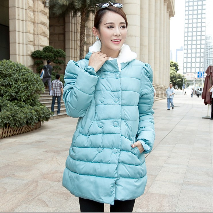 Pregnant women cotton dress in the long section of the Korean version of the loose winter coat winter coat 2017 winter in the long section of the cotton men korean version of the loose hong wind thickening of large yards of clothing