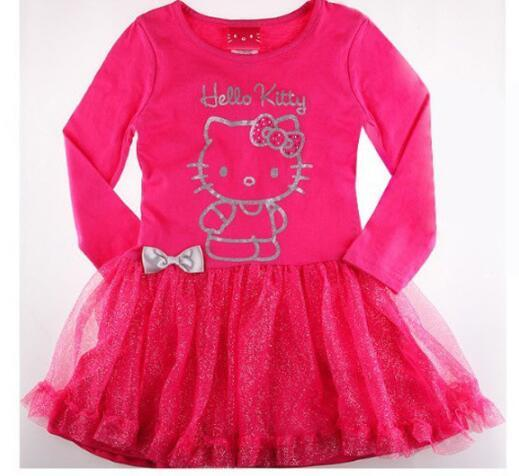 Girl Princess Dress 2016 New Fashion Brand Children KT cat pattern Baby Girls Dress Long sleeve Baby Kids Clothing Dresses