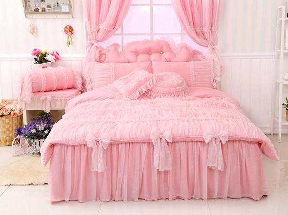 Online Shop Luxury Lavender Lace Comforter Sets Queentwin Size