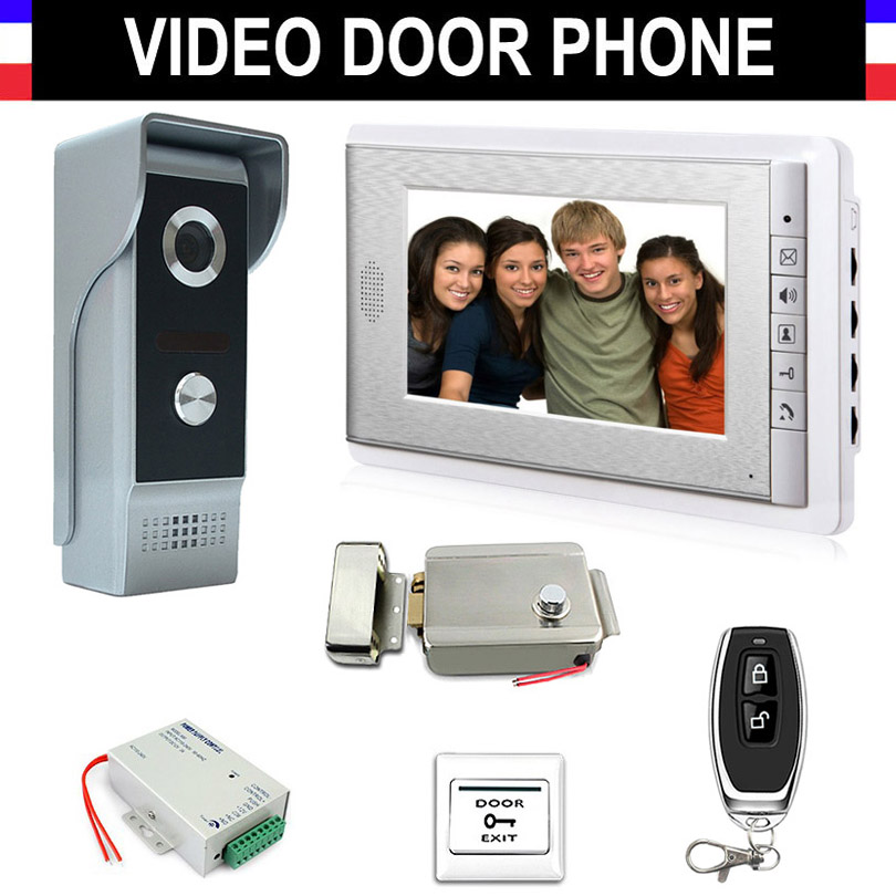 Video Intercom Doorbell Kits 7 Monitor Wired Video Door Phone System 700TVL IR Camera with Electric Lock + Remote Control+ExitVideo Intercom Doorbell Kits 7 Monitor Wired Video Door Phone System 700TVL IR Camera with Electric Lock + Remote Control+Exit
