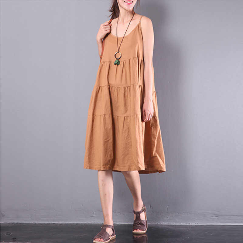 bc48856965 New ZANZEA Summer Elegant Women Pleated Solid Cotton Linen Strappy  Patchwork Baggy Party Beach Dungarees Midi