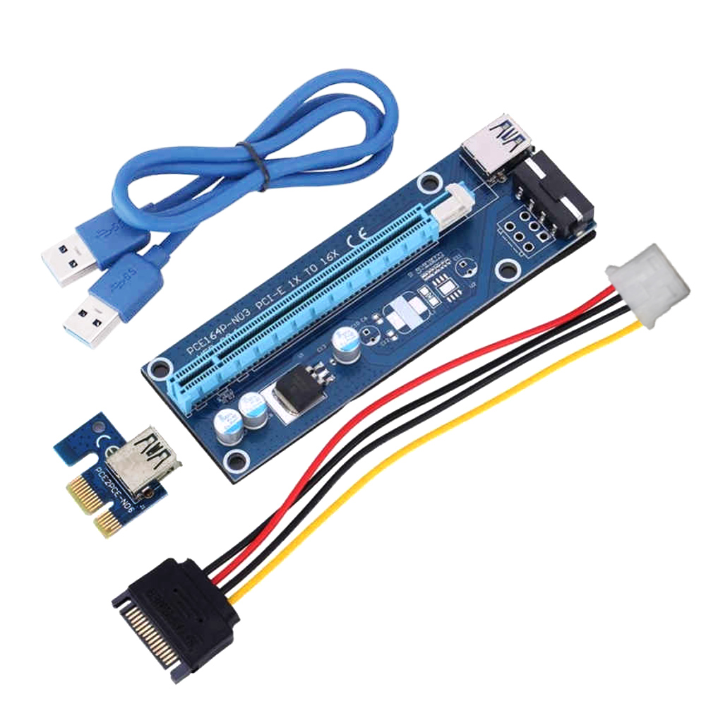 ส่วนลด Pci E 1X To 16X Usb 3 Port 60Cm 23 62Inches Length Graphics Card Extend Cable Set Riser Board Adapter With Sata 15 Pin 4Pin Power Cord For Bitcoin Btc Miner Machine Intl Unbranded Generic Thailand
