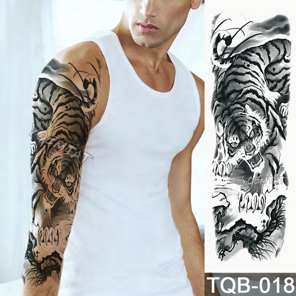 NEW 48*17cm Full Flower Arm Tattoo Sticker Tiger down the mountain Temporary Body paint Water Transfer fake Tatoo sleeve