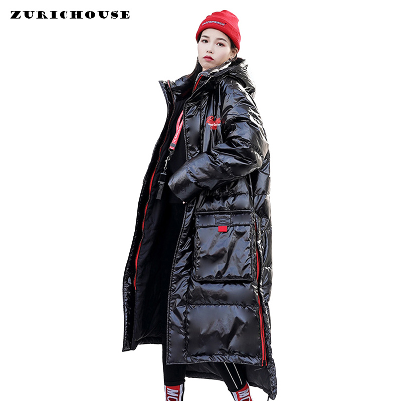 Oversized Winter Down Jacket Women Over The Knee Long Hooded   Parka   Women Clothes 2019 New Arrival Thick Warm Womens Winter Coat