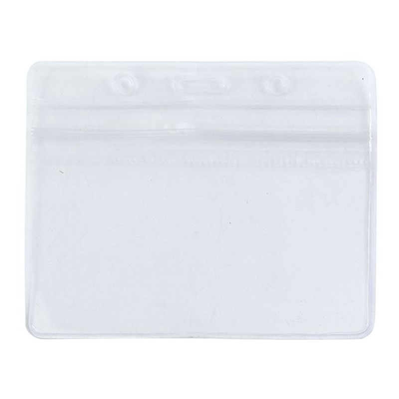 2 X Clear PVC Waterproof Horizontal Exhibition ID Name Card Badge Holders