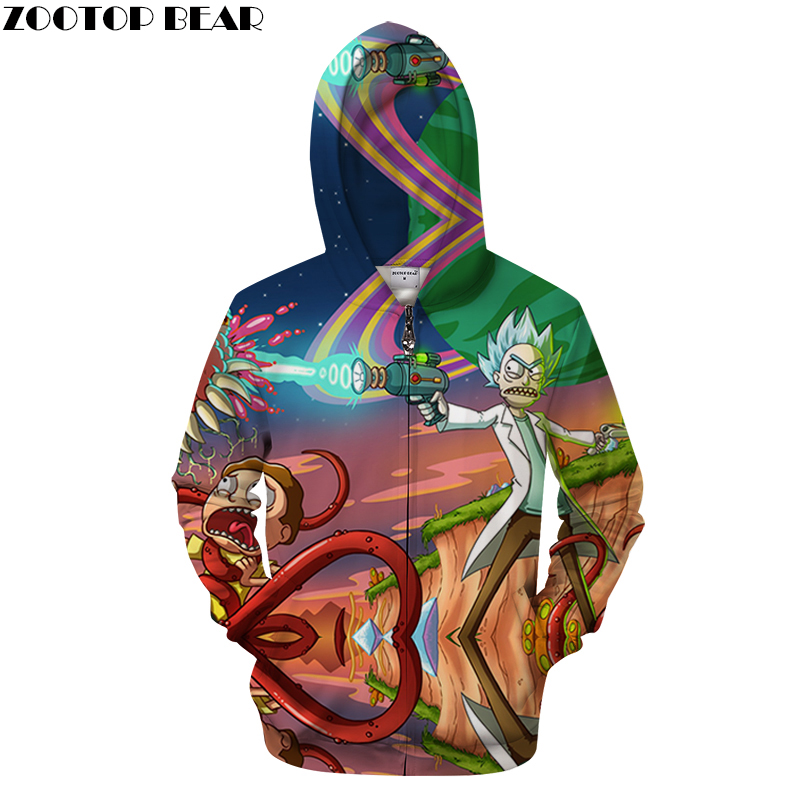 2018 Printed Hoodies Men Zip Sweatshirt 3D Zipper Hoodie Autumn Pullover Anime Hoody Funny Tracksuit Brand