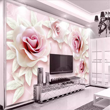 3d pink rose 3D TV background wall professional making mural custom photo wallpaper