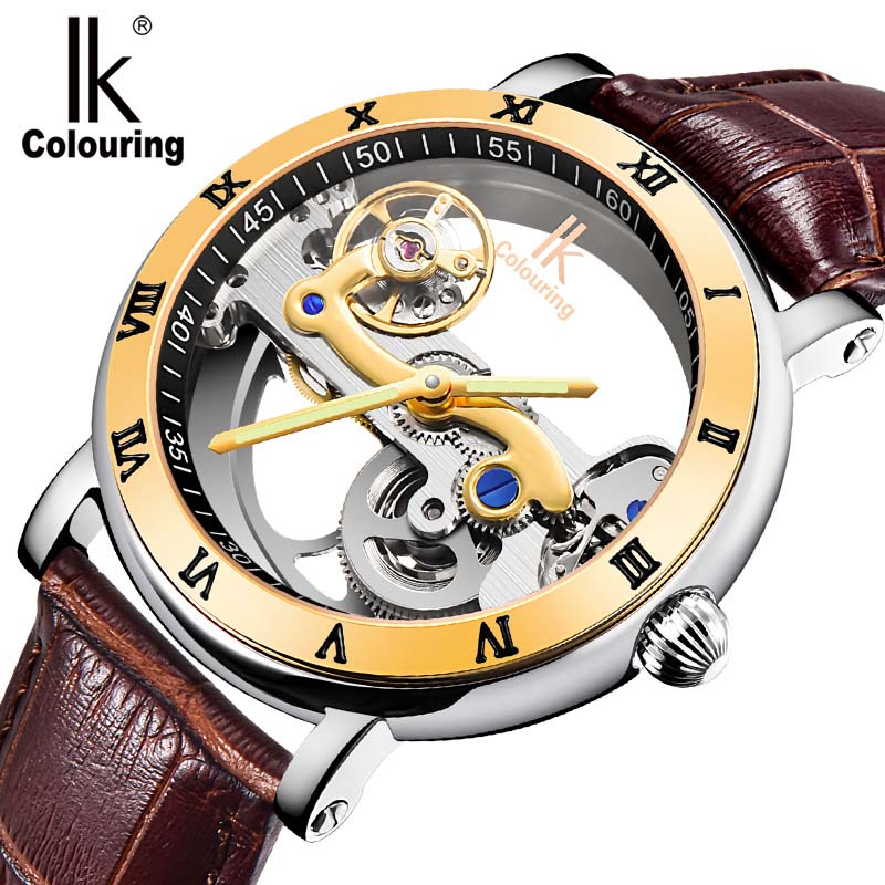 ФОТО brand IK colouring hollow mechanical watch, fashion Casual waterproof dress watch,leather strap men sports watches
