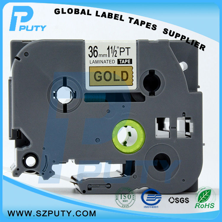 10 packs TZe 861 36mm Black on Gold TZ 861 compatible label tapes for ptouch label