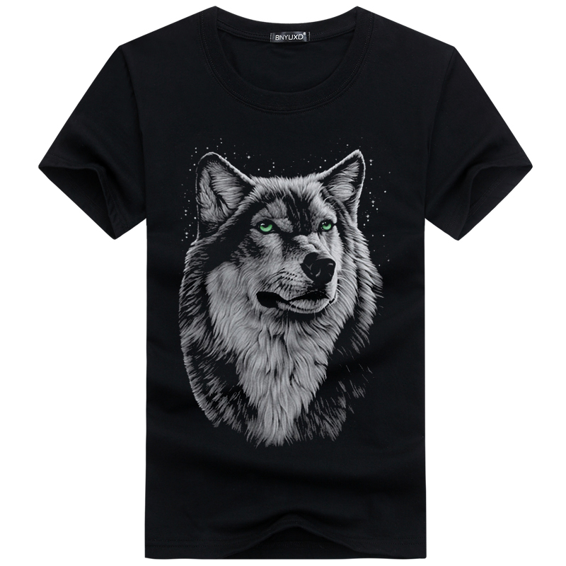 Brand T Shirt Men Hot Selling 2019 Summer Style New 3D Printed Wolf Mens T Shirt Cotton Casual Brand T-shirt Plus Size M-5XL