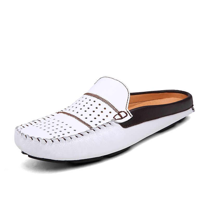 Zomer Schoenen Mannen Loafers Lederen Mannen Schoenen Casual Slip Zwart Blauw Wit