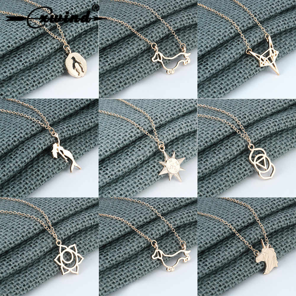Cxwind Love Animal Unicorn Compass Pengiun Heart Pendant Necklace for Women Girl Gift Statement Necklaces Collares