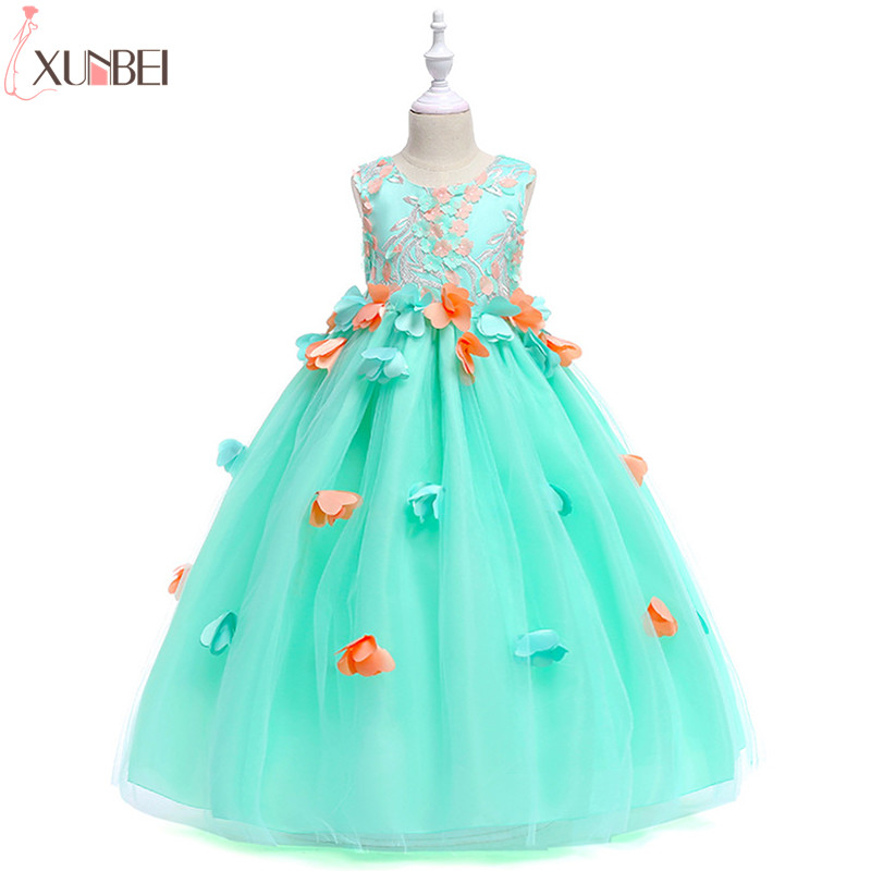Green Pink   Flower     Girl     Dresses   Lace 2019 Tulle Appliqued Pageant   Dresses   For   Girls   First Communion   Dresses   Kids Prom   Dresses