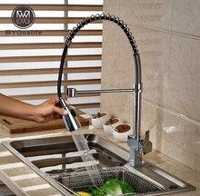 Один Рычаг вращения кухонный смеситель воды кран Палуба Гора латунные краны хромированной отделкой одно отверстие