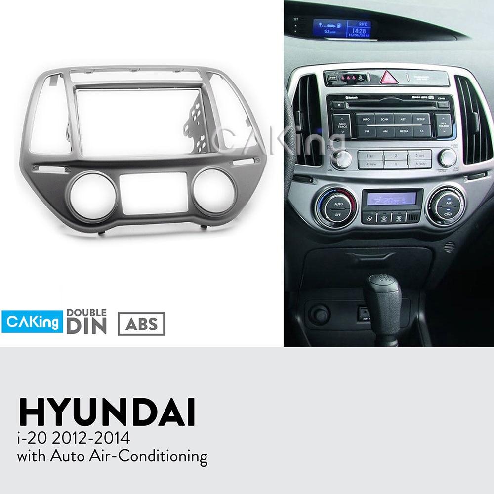 Double Din Car Fascia Radio Panel for 2012 2014 HYUNDAI i 20 i20 Auto Aircon Dash
