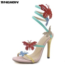 TINGHON New Design Sexy Butterfly Womens Sandals Sequined Cloth Rhinestone Serpentine Wrap zapatos mujer