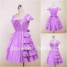 V-1202 Lila kurzhülse baumwolle Süße Schule Lolita Kleid/viktorianischen kleid Cocktailkleid/halloween-kostüm US6-26