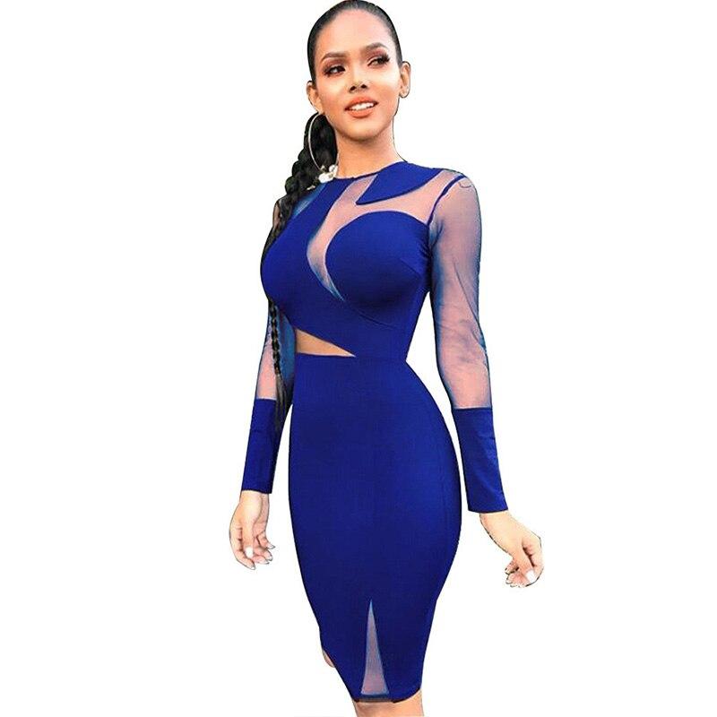 Sexy Mesh Patchwork Sheer Black Bodycon Dress Women O-neck Long Sleeve  Elegant Birthday Nightclub Short Party Dresses Vestidos 936676ee3b77
