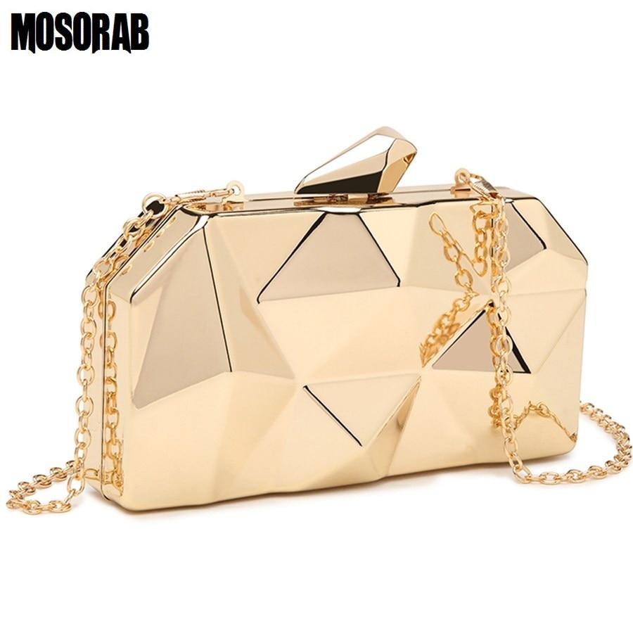 MOSORAB Gold Acrylic Box Geometry Clutch Evening Bag Elegent Chain Women Handbag For Party Shoulder Bag For Wedding/Dating/Party 2
