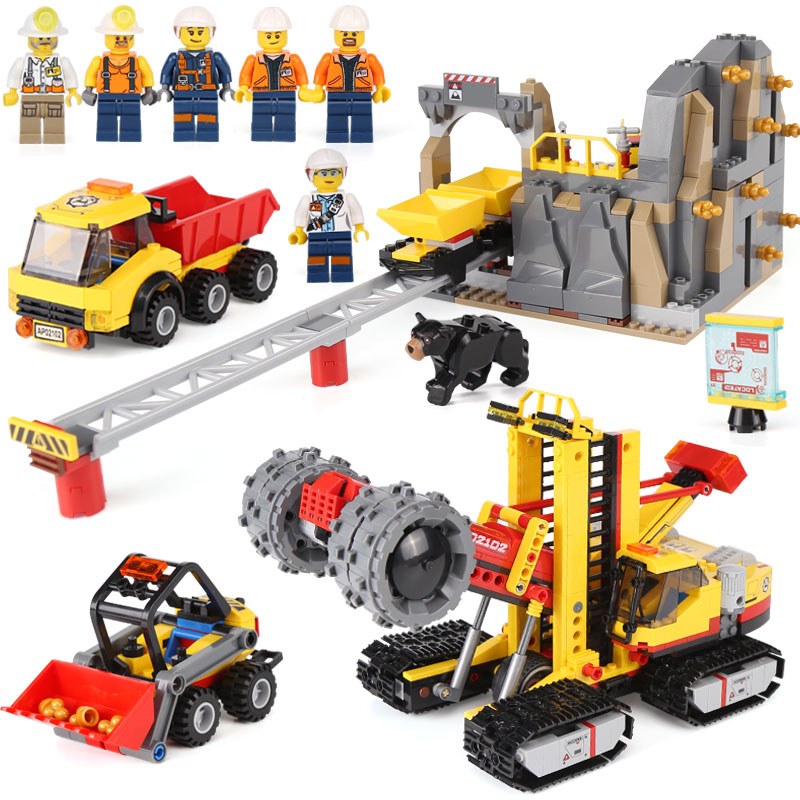 Lepin 02102 Genuine Toys City Series LegoINGys 60188 Mining Experts Site Set Building Blocks Bricks Funny Toys Model Kids Gifts ynynoo lepin 02043 stucke city series airport terminal modell bausteine set ziegel spielzeug fur kinder geschenk junge spielzeug