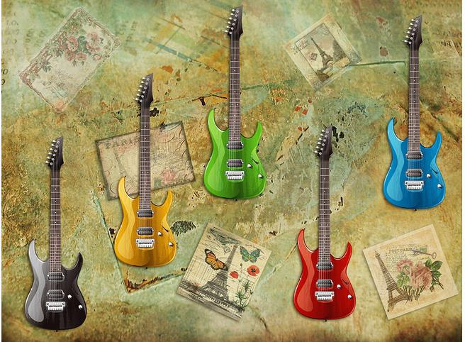 Custom Photo Wallpaper 3d European Wall Electric Guitar Retro Sofa