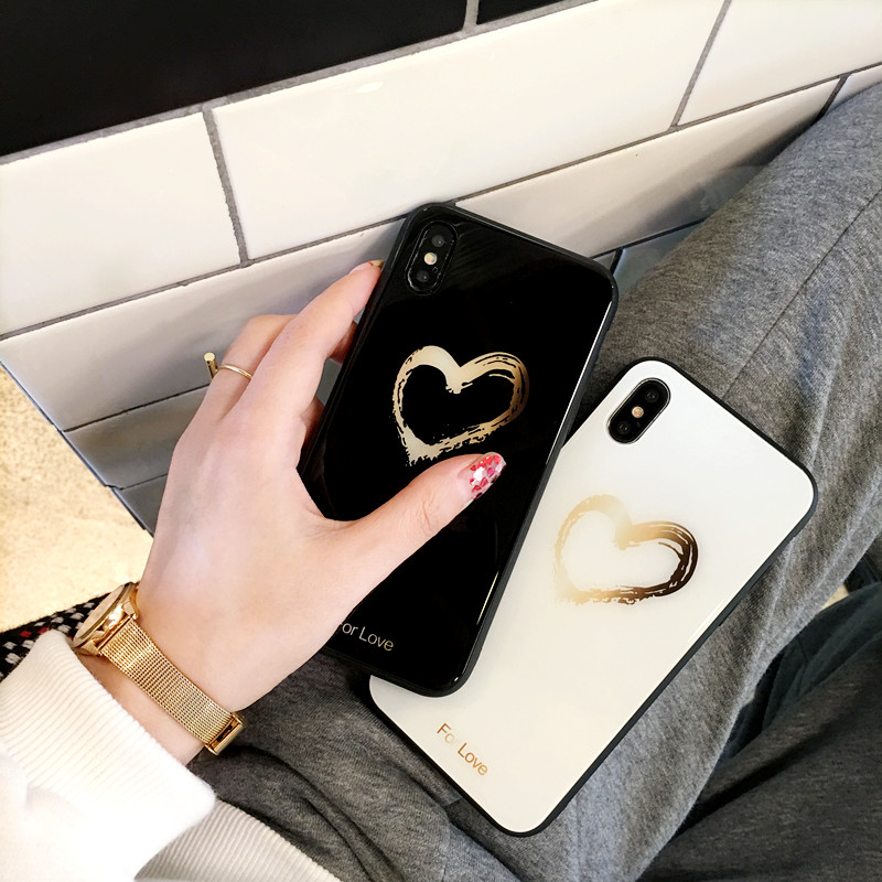 BONVAN Tempered Glass Case For iPhone X Lovely Heart Hard Back Cover Soft Silicone Bumper For iPhone 7 6S 8 Plus 6 Plus Cases12
