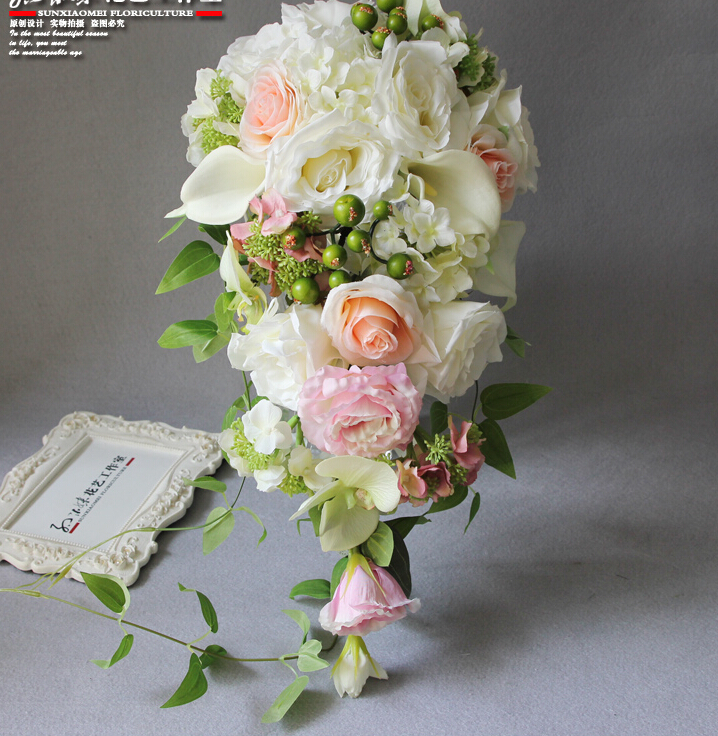 Photo Wedding Flowers: 2018 Real Photo Ivory Western Wedding Bridal Bouquet