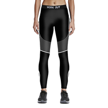 2016 Women Sport Black Striped Pants Plus Size Dot 3D Print Running Gym Yoga Outfit Trousers S To 4xl Punk Sport Leggings