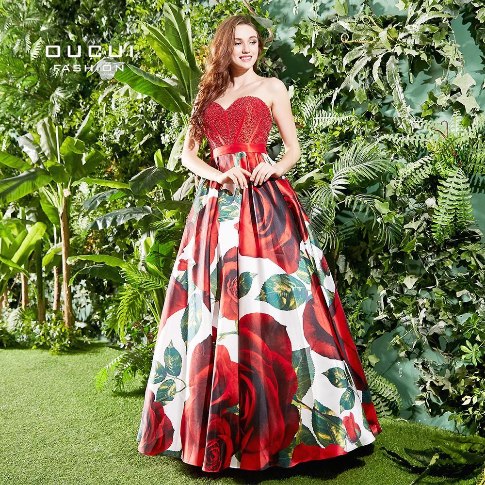Amoureux Sans Bretelles Robes De Bal 2019 Nouveau Design Imprimé Floral Sexy Fleurs Robe Plus La Taille Femmes Robe de soirée parti OL103310