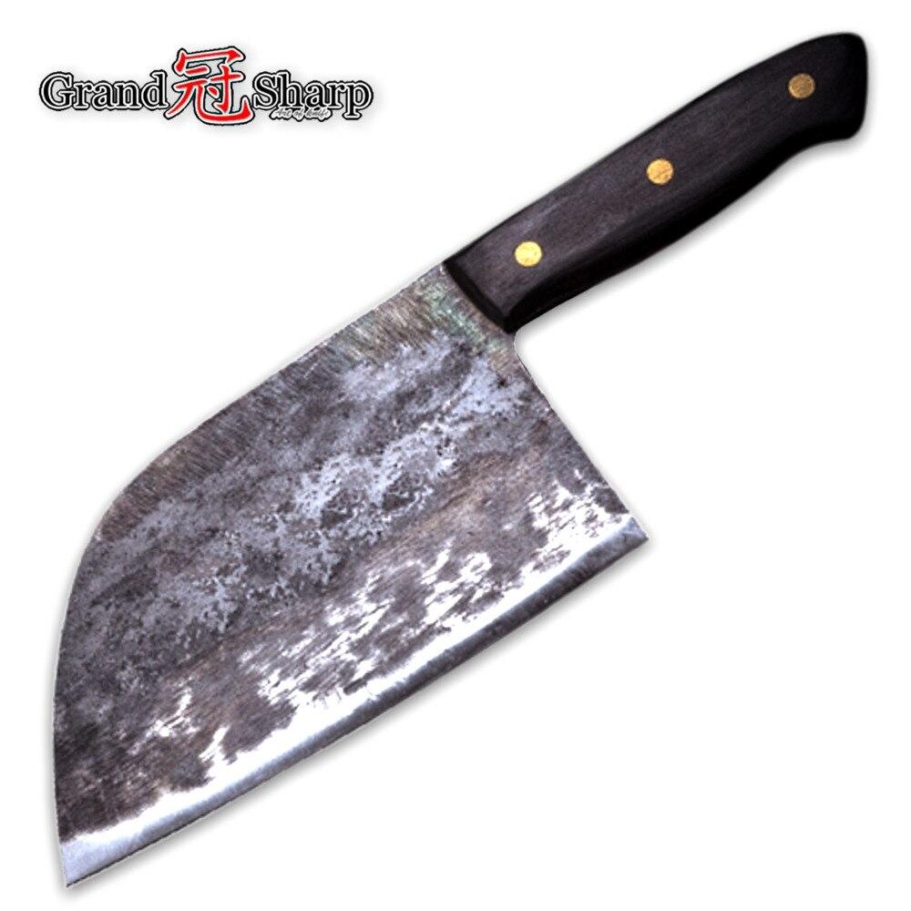 Ручной ковки шеф-повар Ножи одетый Сталь кованые китайский Кливер Профессиональный Кухня ножи мясо овощей, нарезки разделочные инструмент