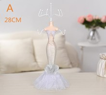 28cm Wedding princess Sequins Gown Mannequin Earring Necklace Stand Display Holder M Size white Ring storage jewelry rack C548