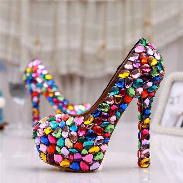 Rhinestone High Heel Shoes Women Luxury colorful Wedding Shoes Bride 10-14cm Fairy maiden Pumps for partyRhinestone High Heel Shoes Women Luxury colorful Wedding Shoes Bride 10-14cm Fairy maiden Pumps for party