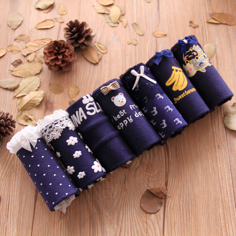 2018 Girls Underwear 7pc/lot lace lovely navy panties Bow Low Waist Briefs Young Girl teenagers Pants children   students 1