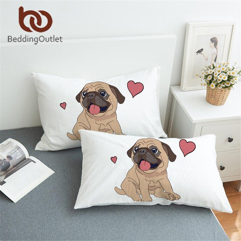 BeddingOutlet Hippie Pug Pillowcase Animal Cartoon Decorative Pillow Case for Kids Cute Bulldog Pillow Cover Dog Bedding 2pcs