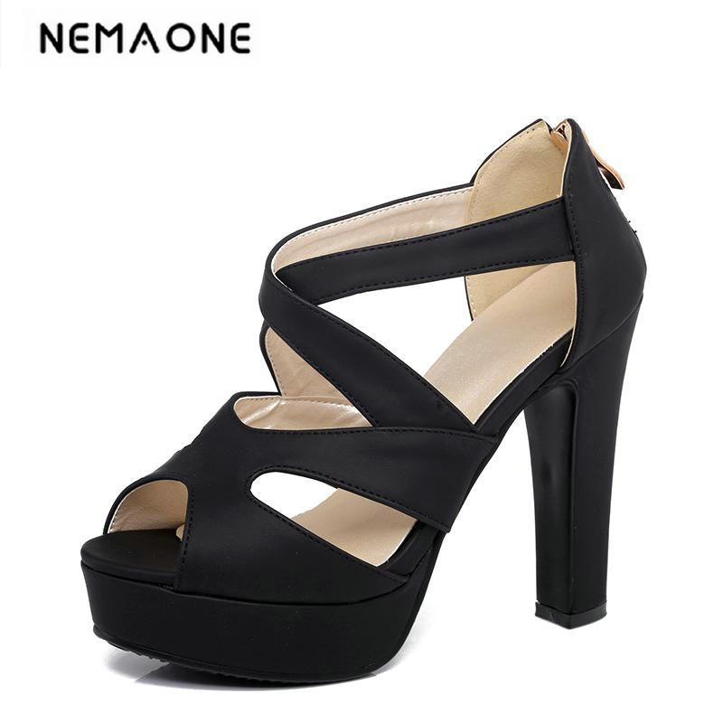 New Big Size 34-43 Gladiator Sandals Women Sandals Sexy peep toe Summer Shoes Woman High Heels Sandals Platform Summer Style brand new women platform sandals t strap rivets high heels wedding shoes woman peep toe gladiator women luxury big size shoes