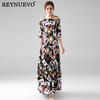 Maxi Vestido Dresses Retro Fashion Half Sleeve Black Slash Neck 2017 Early Autumn Cards Print Floor
