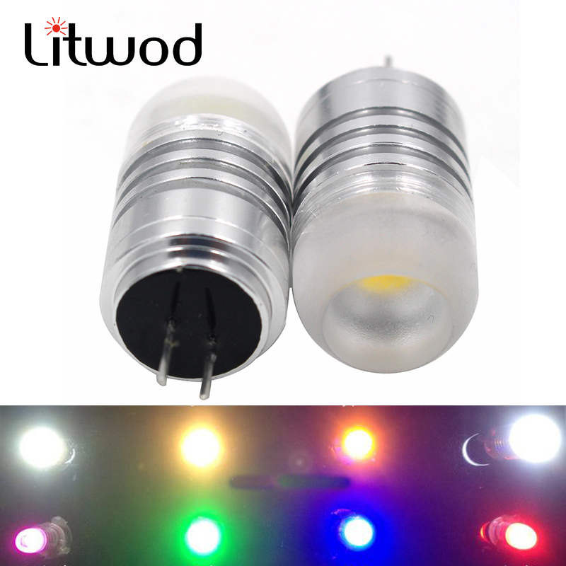 Litwod Z50 2pcs Car aluminum LED G4 DC12V Red Green Blue Purple light high heat dissipation minimum volume long life COB light