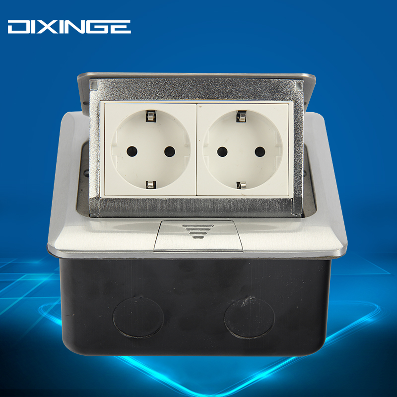 EU Double Standard Duplex Socket Export Corridor German Socket Silvery PC Panel Socket 16A B146-L131 dixinge high quality brand german standard socket wall socket tv outlet silvery were pc material panel b120 l134
