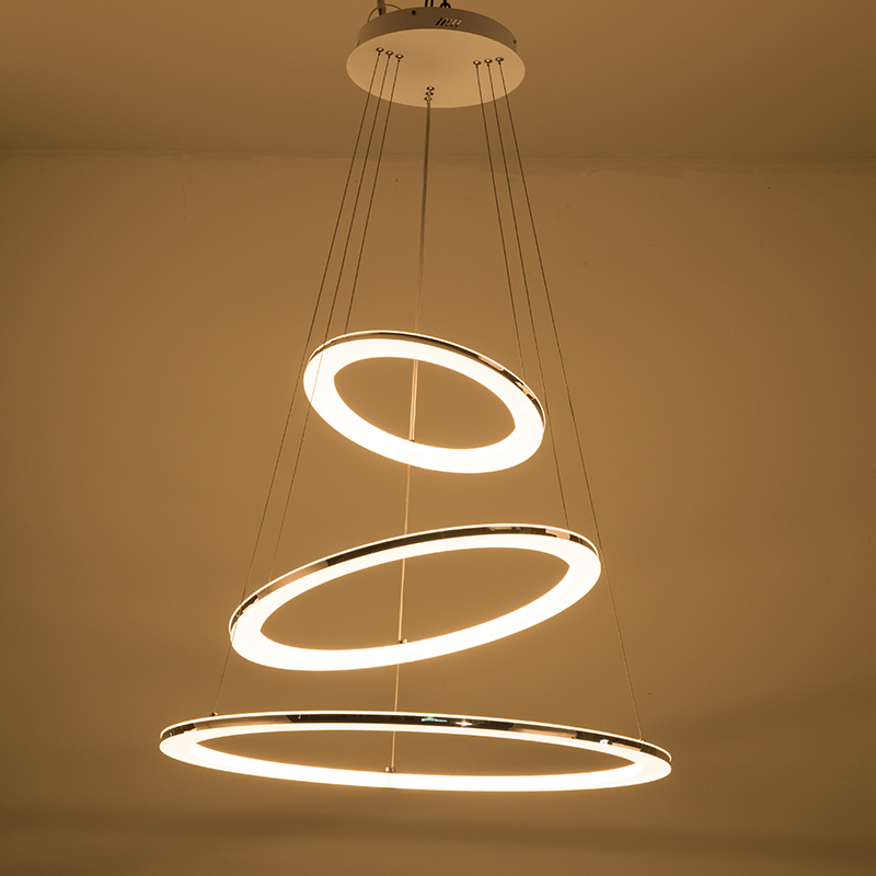 Modern Pendant Light For Living Room Dining Room Circle Rings Stainless Steel Silver Suspended Pendant LED Ceiling Lamp Fixtures