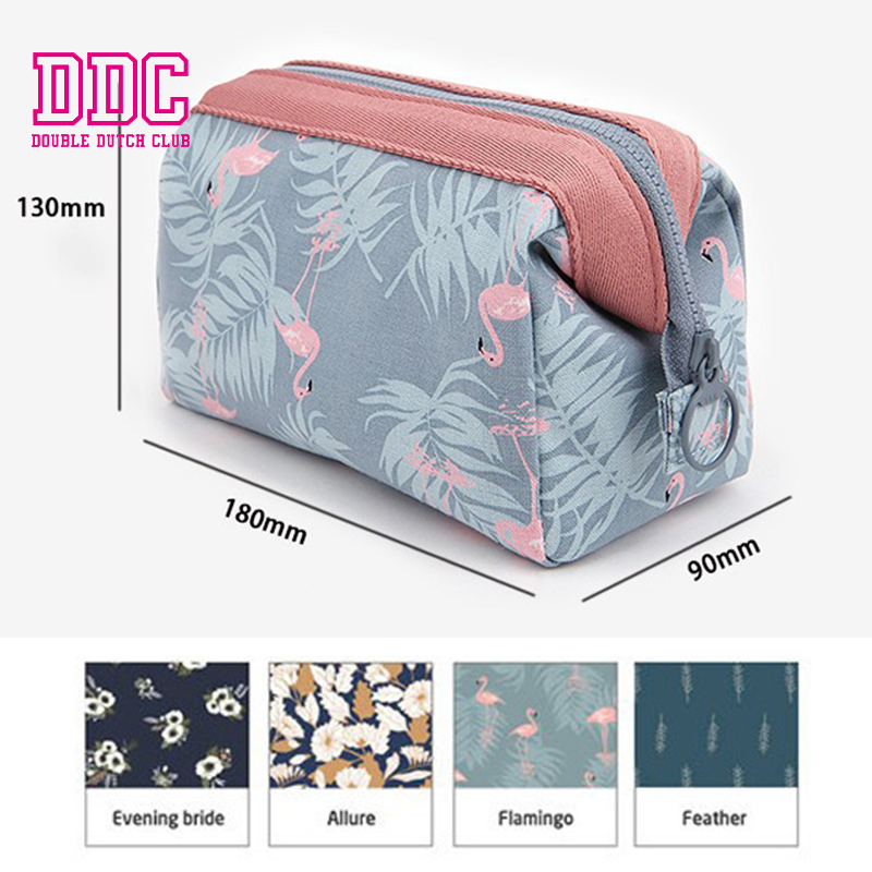 DDC Fashion Brand Cosmetic Bags 2018 New Flamingo Makeup Case Women Travel Trunk Makeup Bag Organizer Storage Pouch Toiletry Box