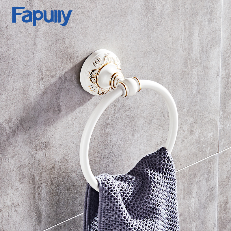 Fapully Wall Mount Bathroom Towel Ring Holder White and Black Towel Bar bathroom Towel Accessories Hardware G128-06W