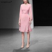 Wreeima элегантный розовый платье женщины 2019 весна осень Разделение с длинными рукавами тонкие платья Fit and Flare взлетно посадочной полосы плать