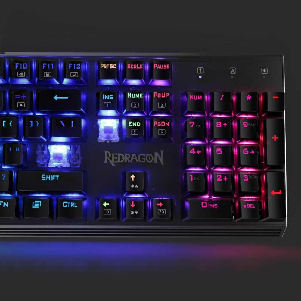 Redragon K570 PARTRYUSA RGB Механическая с подсветкой игровая клавиатура Gunmetal твердая алюминиевая база 104 ключей анти-ореолы синие переключатели