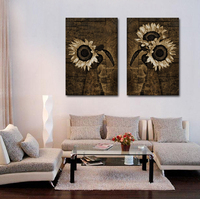HD Spray Painting Large Canvas Printed Wall Art Black And White Abstract Art Sunflowers Modern Home