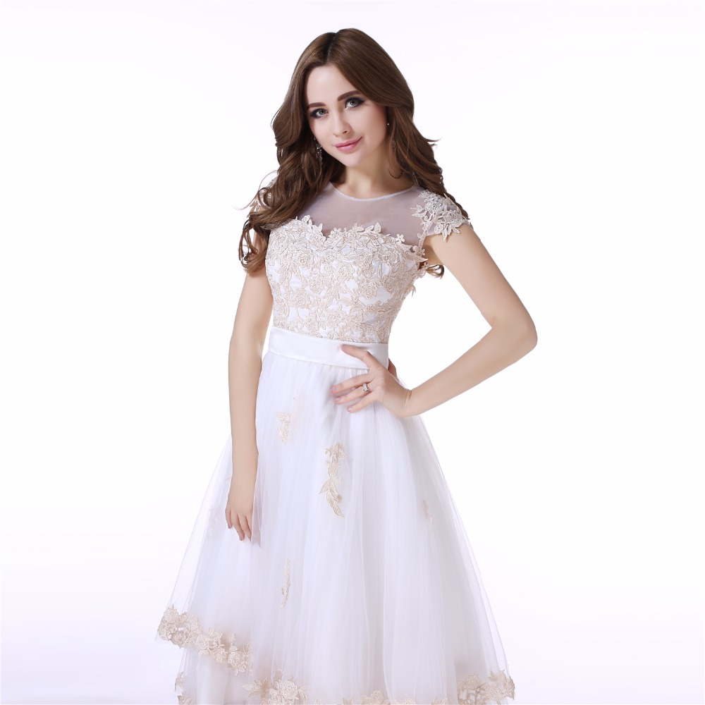 c30ada0889e0 White Tea Length Prom Dresses