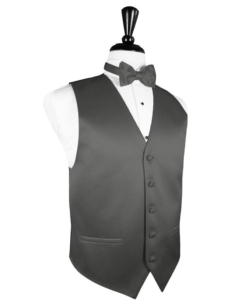 New Mens Charcoal Grey Tuxedo Vest BowTie Set Formal Groomsmen Wedding Prom Gray 1