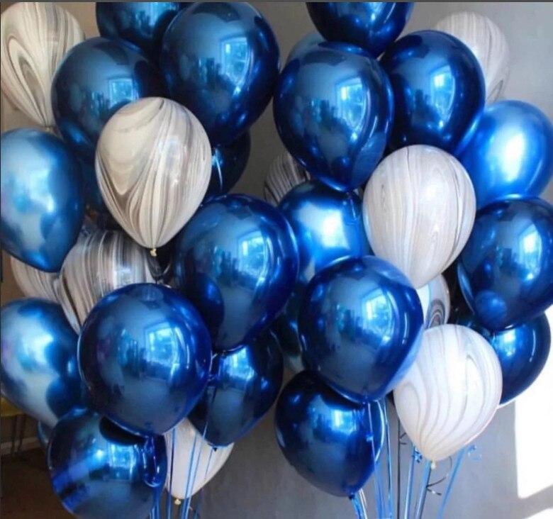1set Azul Metalizado Negro Mezclado Mármol Látex Tipo ágata Globo De Helio Adornos Para Fiesta De Cumpleaños Adultos Boda Globo Suministrar Globos Y Accesorios Aliexpress